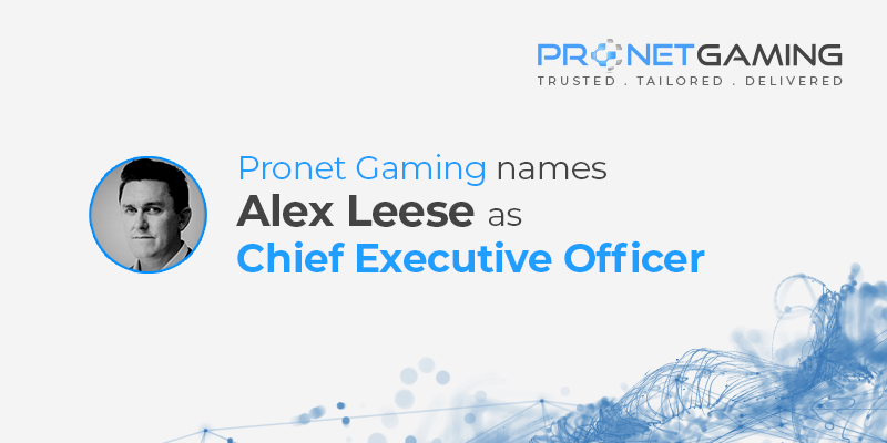 Pronet Gaming names Alex Leese as Chief Executive Officer. Headshot of CEO Alex Leese with data imagery in the background