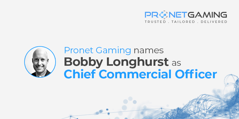 Pronet Gaming names Bobby Longhurst as Chief Commercial Officer. Headshot of CCO Bobby Longhurst with data imagery in the background