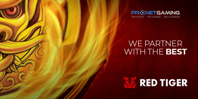 """Pronet Gaming logo in top right corner. """"We partner with the best"""". Red Tiger Gaming logo bottom right corner. Left has a section of a Chinese dragon's face"""