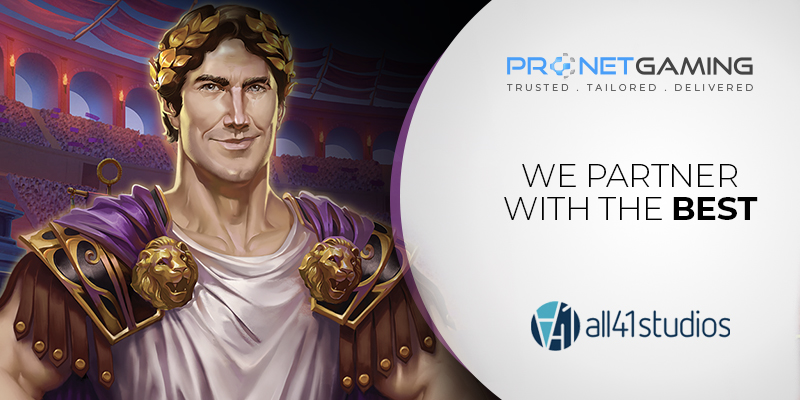 """Pronet Gaming logo in top right corner. """"We partner with the best"""". all41studios logo bottom right corner. Roman gladiator cartoon to the left of text"""