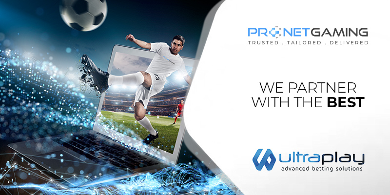"""Pronet Gaming logo in top right corner. """"We partner with the best"""". Ultraplay logo bottom right corner. Footballer emerging from TV screen after striking football"""