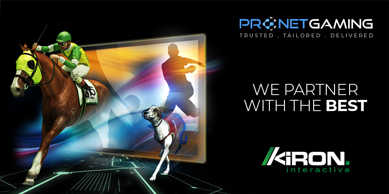"""Pronet Gaming logo in top right corner. """"We partner with the best"""". Kiron logo bottom right corner. Jockey on horse and greyhound walking out of and emerging from a television screen"""