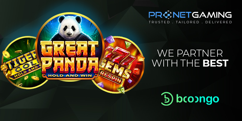 """Pronet Gaming logo in top right corner. """"We partner with the best"""". Booongo logo bottom right corner. 3 circles on left side with Tiger Golf, Great Panda and 7 Gems"""