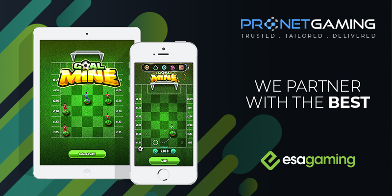 """Pronet Gaming logo in top right corner. """"We partner with the best"""". Esagaming logo bottom right corner. Phone and tablet displays esagaming goal mine"""