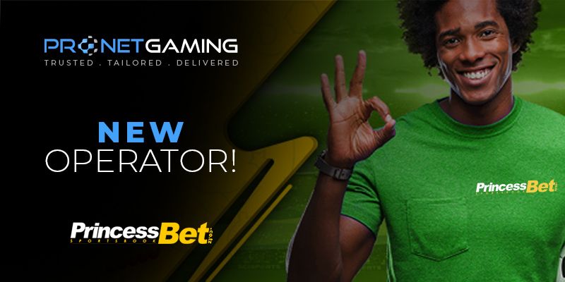 New Operator. Pronet Gaming logo in top left corner. PrincessBet, Tanzania logo in bottom left corner. Man in green t-shirt with PrincessBet logo on left side of his chest