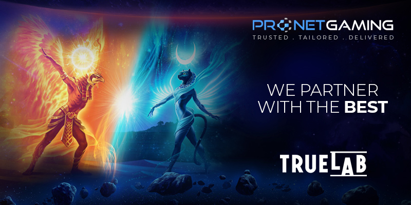 """Pronet Gaming logo in top right corner. """"We partner with the best"""". True Labs logo bottom right corner. One fire, orange mythical creature faces a blue, water mythical creature to the left of text"""