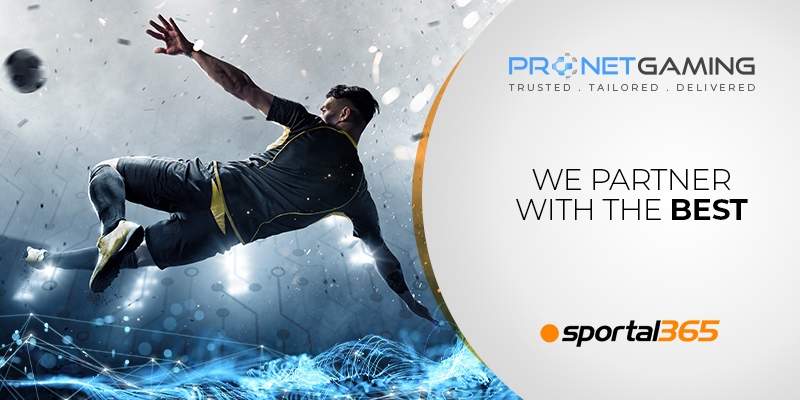 """Pronet Gaming logo in top right corner. """"We partner with the best"""". Sportal365 logo bottom right corner. Football player in mid-air kicking a football"""
