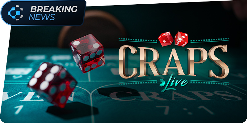 Breaking news in top left corner with Pronet Gaming global orb. Craps Live to the right with red dice on the left