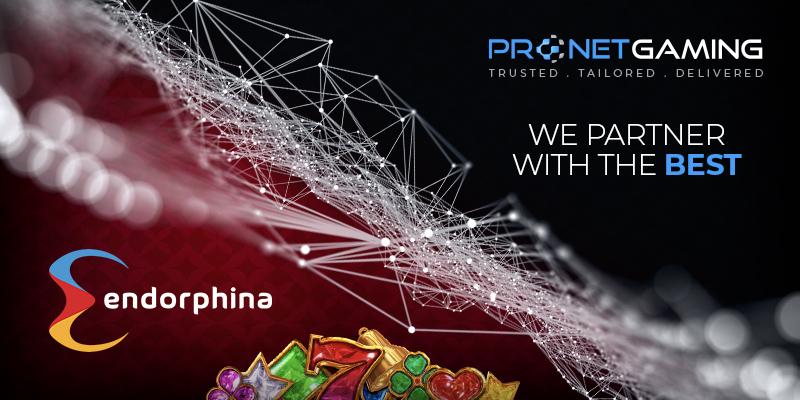 "Pronet Gaming logo in top right corner. ""We partner with the best"". Endorphina logo bottom left corner."