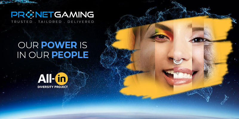 Pronet Gaming logo in top left corner. All-in diversity project in bottom left corner. Our power is in our people is key message and image is a face made up of various other faces of all genders and races