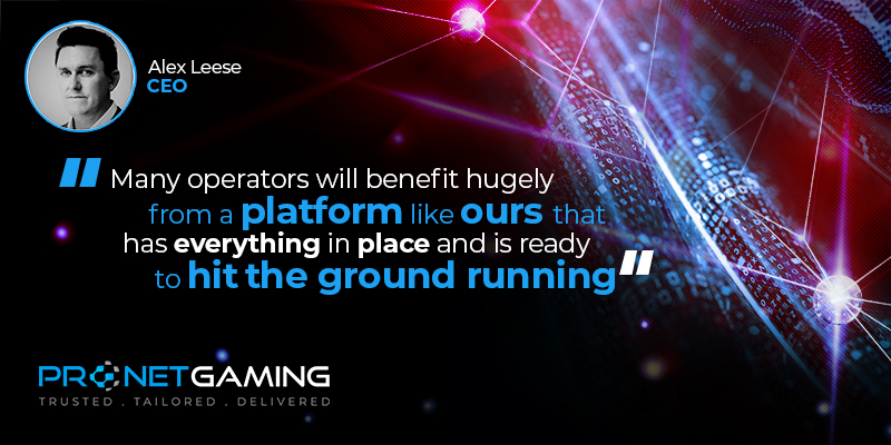 """CEO Alex Leese headshot in top left corner. Pronet Gaming logo in bottom left. Quote from SoloAzar article is """"Many operators will benefit hugely from a platform like ours that has everything in place and is ready to hit the ground running"""""""