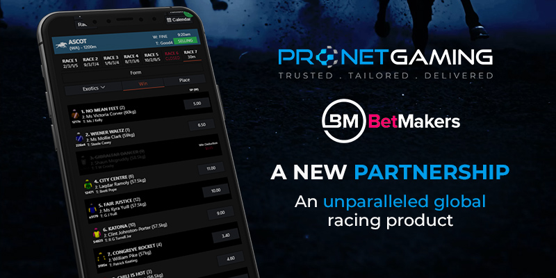 """Pronet Gaming logo in top right corner. BetMakers logo underneath it. """"A new partnership. An unparalleled global racing product"""". Smartphone displays new racing product UI"""