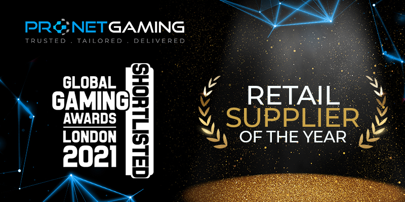 Pronet Gaming shortlisted for Global Gaming Awards London 2021. GGA shortlist logo. Retail Supplier of the Year category highlighted