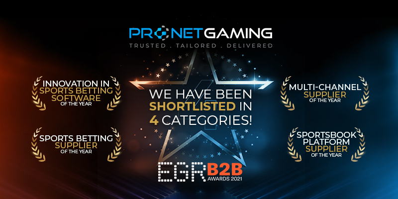 EGR B2B Awards shortlist. 4 categories in star. Innovation in sports betting software, multi-channel supplier of the year, sportsbook platform supplier of the year and sports betting supplier of the year categories highlighted