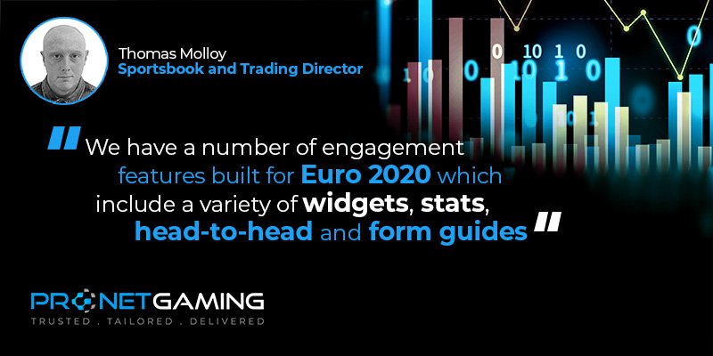 """Sportsbook and Trading Director Tommy Molloy headshot in top left corner. Pronet Gaming logo in bottom left. Quote from G3 article is """"We have a number of engagement features built for Euro 2020 which include a variety of widgets, stats, head-to-head and form guides"""""""