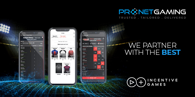 """Pronet Gaming logo in top right corner. """"We partner with the best"""". Incentive Games logo bottom right corner. 3 smartphones displays different front-end images with a stadium in the background"""