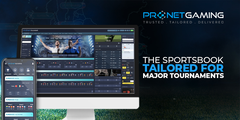 """Pronet Gaming logo in top right corner. """"The Sportsbook tailored for major tournaments"""". Desktop and smartphone displays bespoke Euro 2020 widgets"""