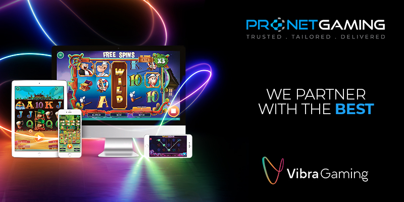 """Pronet Gaming logo in top right corner. """"We partner with the best"""". Vibra Gaming logo bottom right corner. To the left is a desktop, tablet and smartphone displaying different key games"""