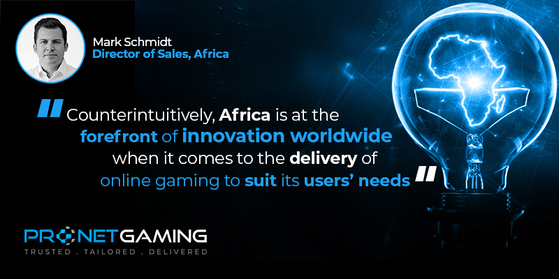 """Headshot of Mark Schmidt, Director of Sales, Africa in top left corner. Pronet Gaming logo in bottom left corner. Image on the right is a bulb with Africa in the middle. Quote reads """"Counterintuitively, Africa is at the forefront of innovation worldwide when it comes to the delivery of online gaming to suit its users' needs"""""""